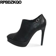 на каблуке осенняя ботильоны дамы батильоны Роскошные бренды обувь женщины платформе овчина сексуальный фетиш заклепка стилет острый носок черный женская новый 2017 китайский мода женский короткая