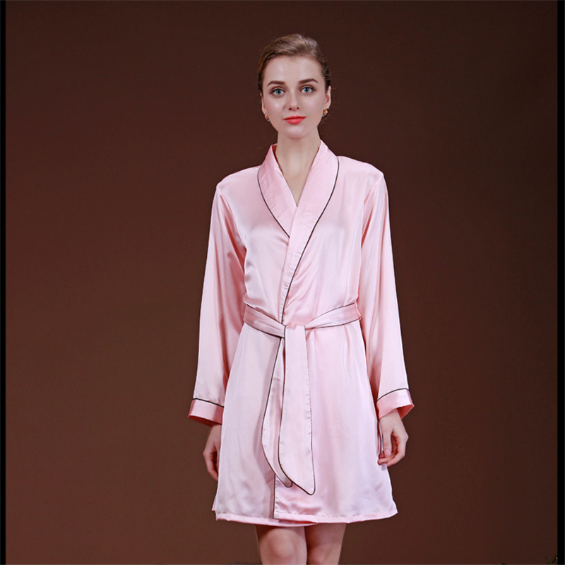 2018 Autumn Women Sexy Faux Silk Satin Robes Hot Sale Kimono Yukata Solid Color Long Sleeve Bathrobe Leisure Home Negligee ...