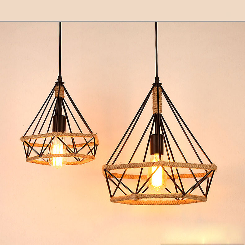 American Country Napkin Light Industrial Wind Retro Pendant Light Diamond Birdcage Creative For loft Bar Restaurant Chandel цены онлайн