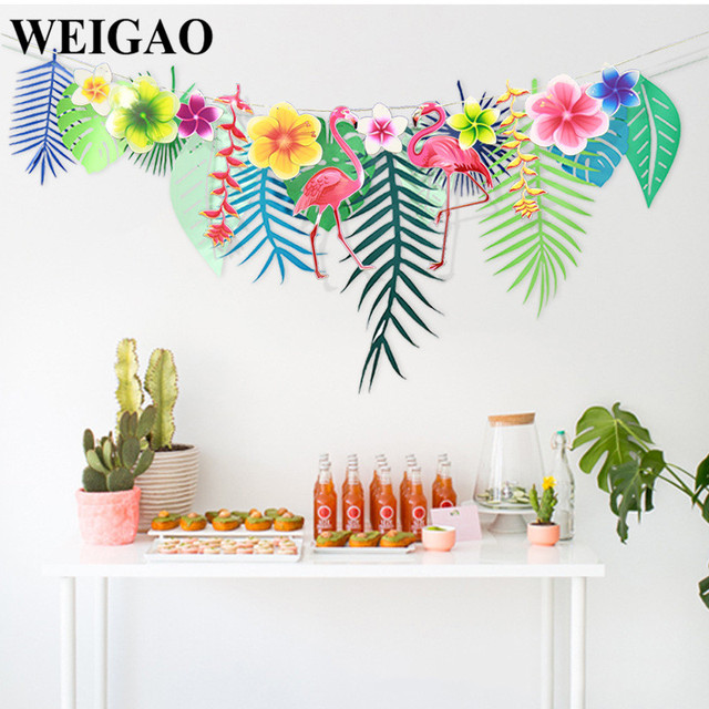 Weigao 1set 3m tropical leaves flamingo theme party banners paper weigao 1set 3m tropical leaves flamingo theme party banners paper flower garland bunting flags wedding decor mightylinksfo