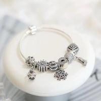 Подходит для ювелирных изделий Шарм DIY дамы вечерние подарок 925 Серебряная Снежинка серии белые бусины готовые браслеты