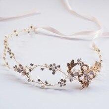 6 Pcs/lot Gold Plated Bridal Halo Crown Floral Crystal And Pearl Hair Vine Headband Tiara Wedding Headwrap Hair Accessories