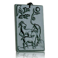 Natural Dark Green Hetian Stone Pendant Carved Rams Zodiac Wek Jin Pendants Women Men S Amulet