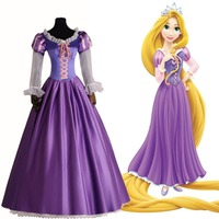 Brand New Adult Rapunzel Fancy Dress For Women movie Cosplay Costume Purple Princess Fairytale Tangled Printed Lace Dress