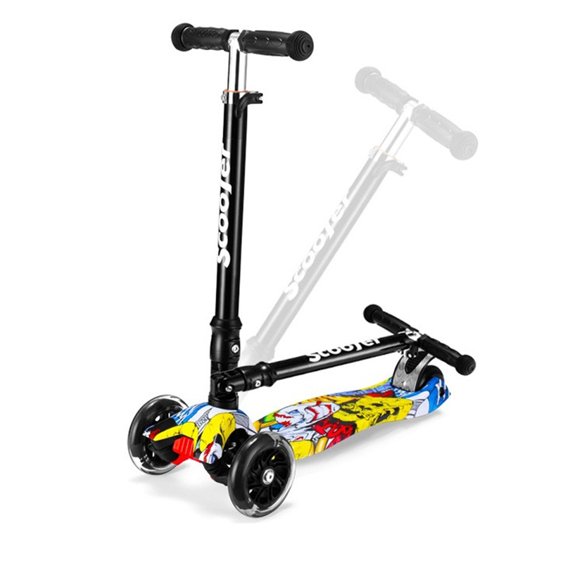 цена на graffiti hyun train balance children mini sooter funny kids kick playing toy with 4 flashing pu wheel folding portable bicycle