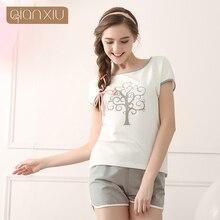 Qianxiu женщин пижамы комплект одежды для дома пальто мягкий хлопок ночная рубашка мода стиль пижамы новое поступление