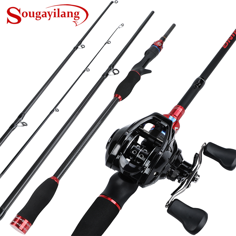 Sougayilang Fishing Rod Combo Carbon Fiber Telescopic Lure Rod 1.8M 2.1M 2.4M + 7.2:1 12+1BB Baitcasting Reel Fishing Tackle