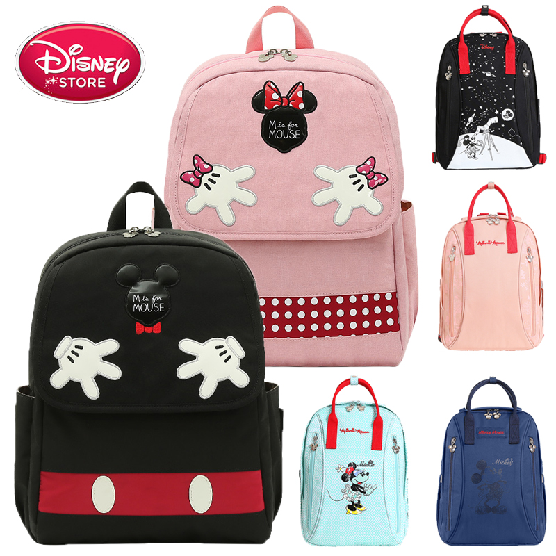Disney Diaper Bag Backpack Disney Mickey Mouse USB Heating Bag Kids Anti-lost Belt Diaper Backpack Travel Backpack Mummy Bag