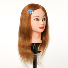 20inch 100% Human Hair Doll Head Styling Mannequin Hairdressing Dolls for Dyeing, Ironing and Cutting