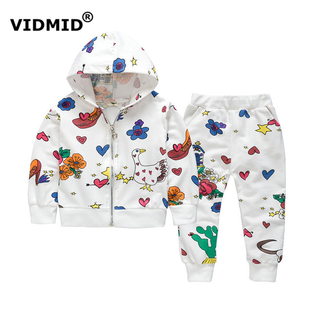VIDMID Children's spring clothing sets baby girl cartoon pattern cotton casual hooded coat + pants kid girl sports suits 1045 37