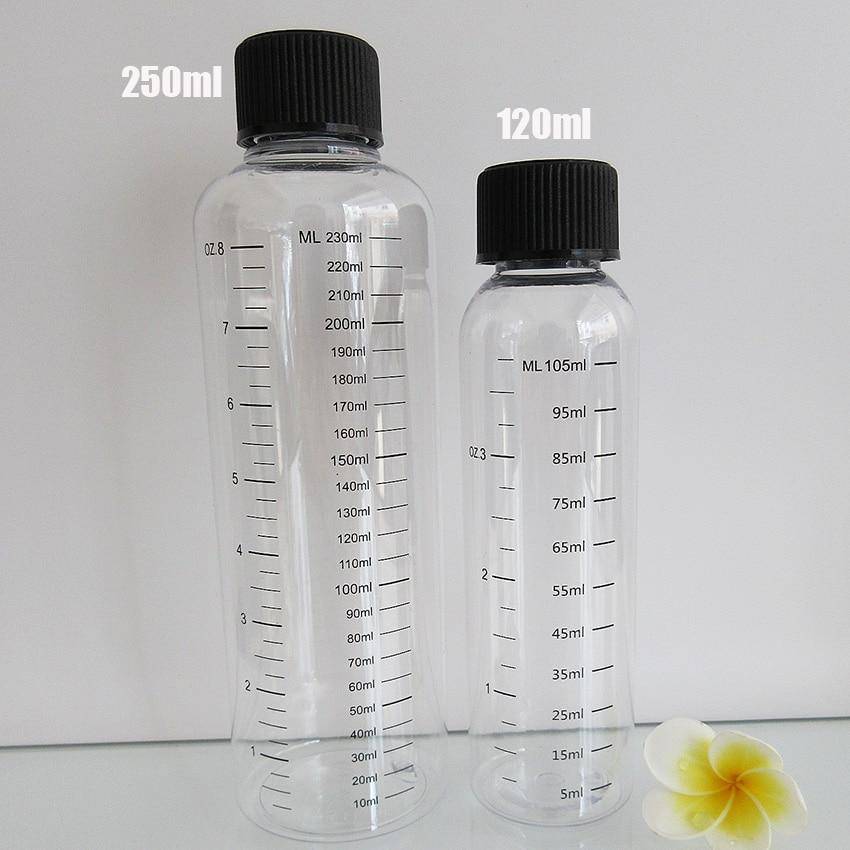 20pcs 120ML(105ml Scale)&250ml(230ml Scale)Printing Water Bottle,PET Liquid Bottle With CRC Cap,Screen Printing Graduation Empty
