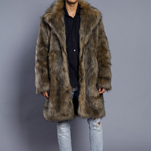 Мужские пальто из искусственного меха модная зимняя верхняя одежда с искусственным лисьим мехом Длинные куртки меховые пальто больших размеров мужские утепленные пальто