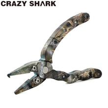 CrazyShark Mini Aluminum Fishing Pliers Goods for fishing Sea/Carp Hook Remover Split Rings 4.5in/115mm Camouflage