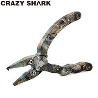 Tubarão louco Mini Alicates De Pesca De Alumínio Produtos para pesca Mar/Pesca Da Carpa Gancho Removedor de Split Rings 4.5in/115mm Camuflagem Ferramentas de pesca    -