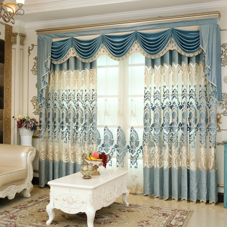 European Curtains for Living Room Luxury Valance Screen Blinds Embroidered Velvet Villa Tulle Curtains for Bedroom Fabric Custom
