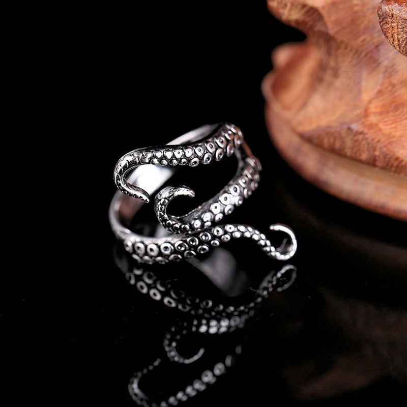 Rinhoo Cool Rings Titanium Steel Gothic Deep Sea Squid Octopus Ring Fashion Jewelry Opened Adjustable Size Top Quality