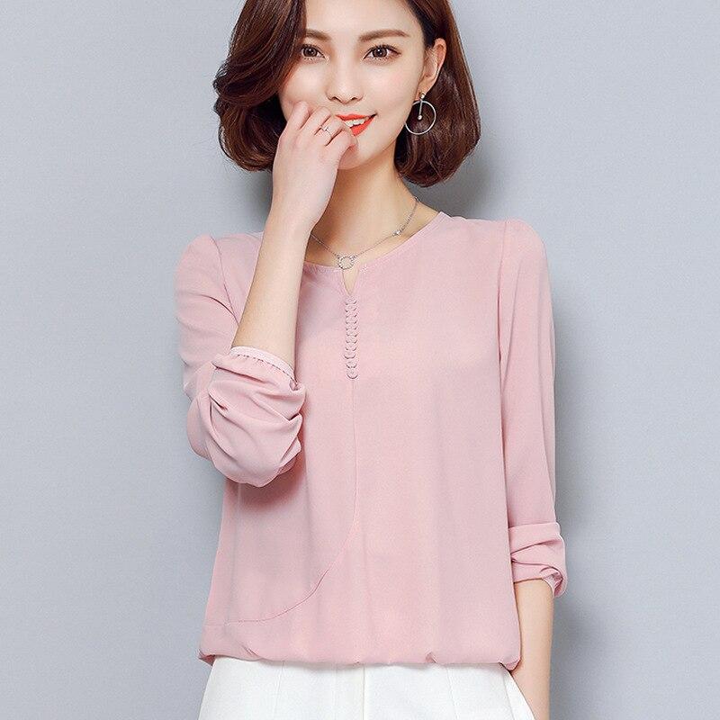 2017 Summer Blouses Women Shirts Elegant O Neck Long Sleeve Shirt Woman Casual Lady Top Big Size KQ04