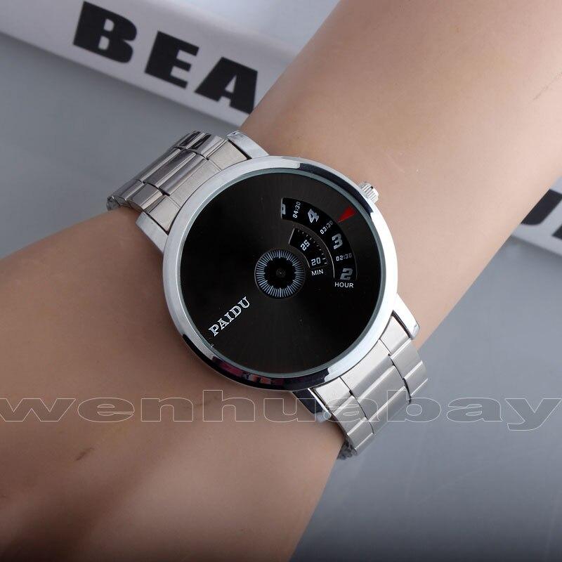 Paidu Black/Silver Quartz Stainless Steel Band Wrist Watch for Mens Boy Turntable Dial Digital Men Watch Gift Wristwatches Q0930 цена и фото