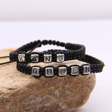 1pair Braided Rope Bracelets King Queen Letter Alloy Bracelets & Bangles Black Woven Rope Wristband Couple Fashion Jewelry Gifts
