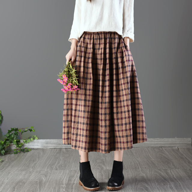 da3b0041fe Cotton and linen woman plaid skirt retro grid female plaid skirts sen full  skirt age season the pleated skirt