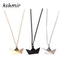 kshmir Classic fashion simple origami boat short chain necklace clavicle