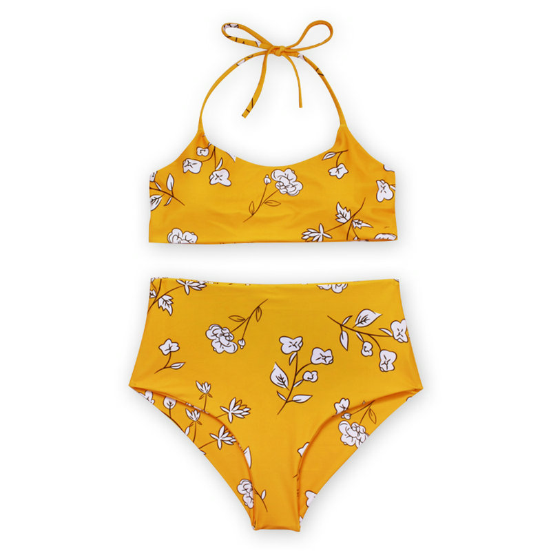 2018 Sexy High Waist Bikini Set Push Up New Floral Print Bathingsuit Simple Plaid Beach Swimsuit Halter Brazilian Swimwear Women