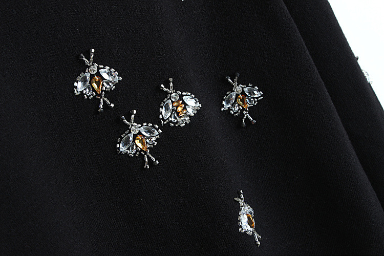 Hiver De Laine Strass Casual En Chandails Nouveau Longues Manches Femmes Automne Perles Tricot Abeilles Pull Noir O cou Pulls À OBEx7w