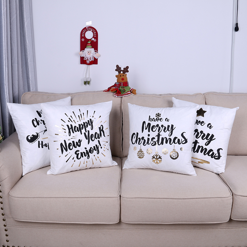 US $3.49 30% OFF|Xmas Modern Home Decor Pillow Covers Christmas Shiny Suede  Fabric Bronzing Cushion Cover Letter Star Trees Printing Pillowcase-in ...