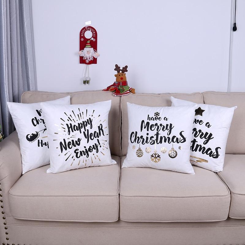 Xmas Modern Home Decor Pillow Covers Christmas Shiny Suede ...