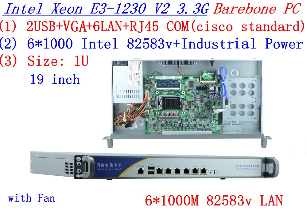 1U Firewall Network Router Barebone PC 6*1000M Lan Port 82583v Inte Quad Core Xeon E3-1230 V2 3.3Ghz No Graphic
