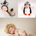 Handmade Newborn Penguin Costume Baby Girl Hat Crochet Newborn Photography Props Penguin Costume Knitted Baby Fotografia Crochet