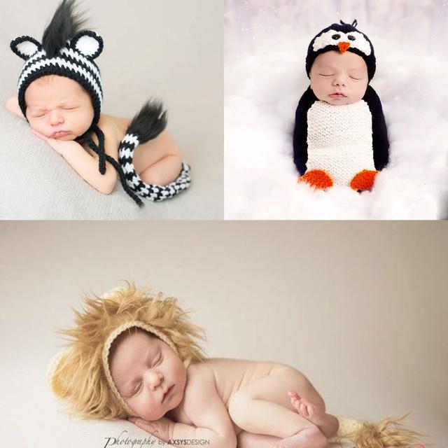 Handmade Newborn Pinguin Kostüm Baby Mädchen Hut Häkeln Neugeborene