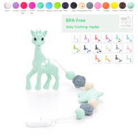 Silicone Teething Pacifier Animal Teether Toy BPA Free Silicone Chew Teething Pacifier Clip Baby Carrier Teething