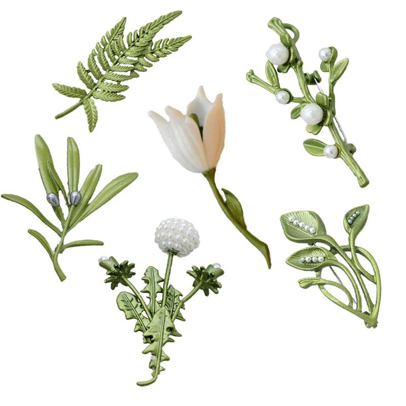BENatural Imitation Pearl Dandelion Fern Peach Blossom Broccoli Bamboo Magnolia Vanilla Flower Vintage Green Brooch