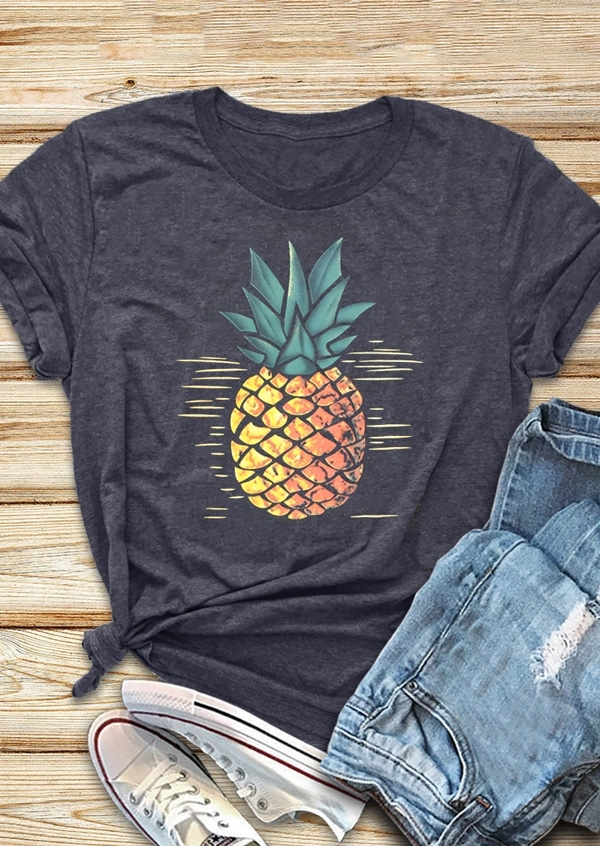 New Women T-Shirt Dark Grey Pineapple Print O-Neck Short Sleeve T-Shirt 2018 Summer Female T Shirt Fashion Ladies Tops Tee