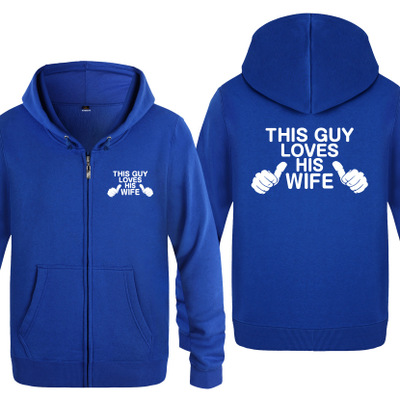 For wife Gift This Guy Loves His Wife printed clothes Unisex zipper hoodies printed hooded spring Autumn thin hoodie