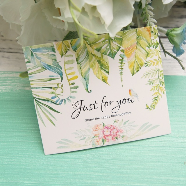 50pcs Mini just for you Card tropical plant bird card leave