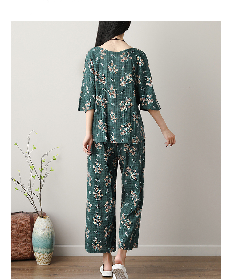 Summer Printed Cotton Linen Two Piece Sets Women Batwing Sleeve Tops And Wide Leg Pants Sets Suits Casual Loose Vintag Sets 2019 47