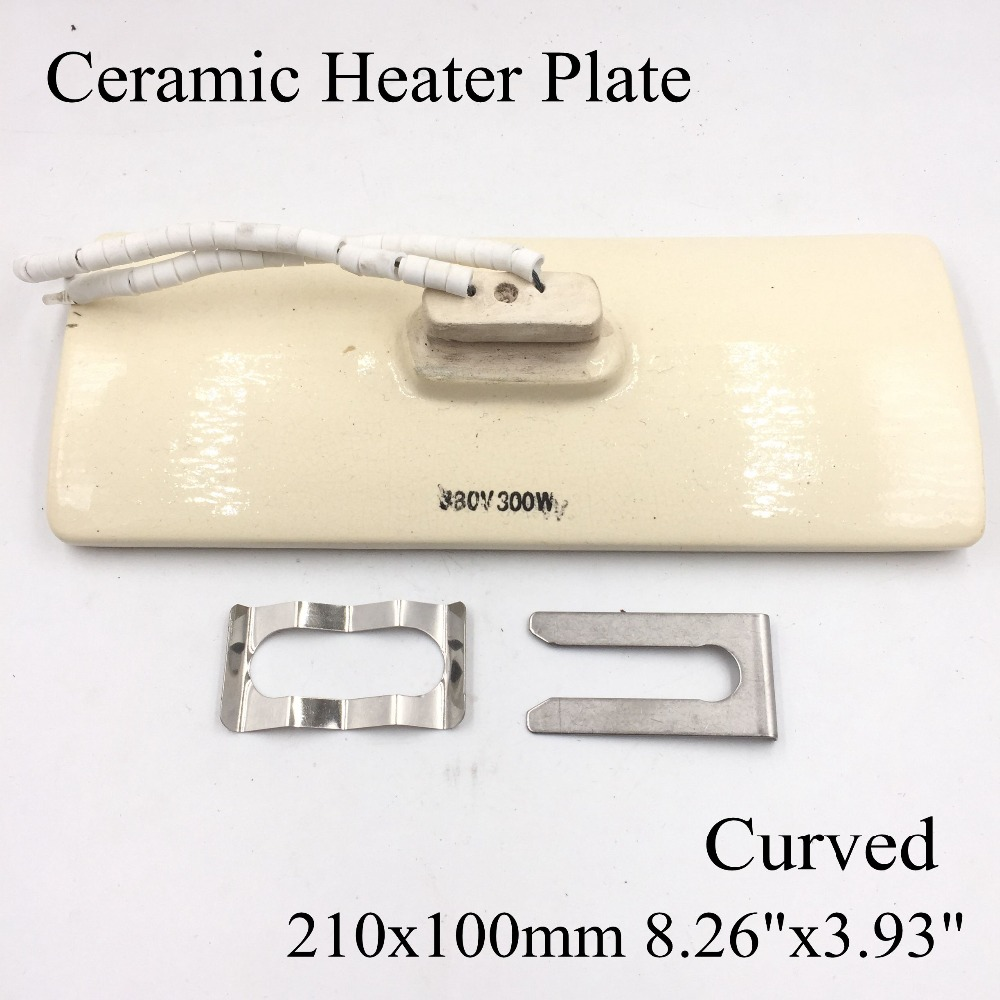 220V 210x100mm White IR Infrared Curved Ceramic Heater Plate Air Heating Board Pad For BGA Station Mould Metal Clip PTC Heater
