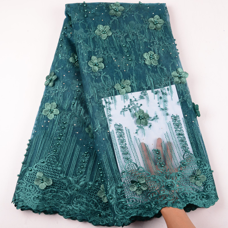 Teal 3D Flower French Lace Nigerian Lace Fabrics African Lace Fabric 2019 High Quality Tulle Net