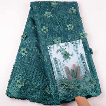 Teal 3D Flower French Lace Nigerian Lace Fabrics African Lace Fabric 2019 High Quality Tulle Net Lace For Party Dress Y1477 - DISCOUNT ITEM  41% OFF All Category