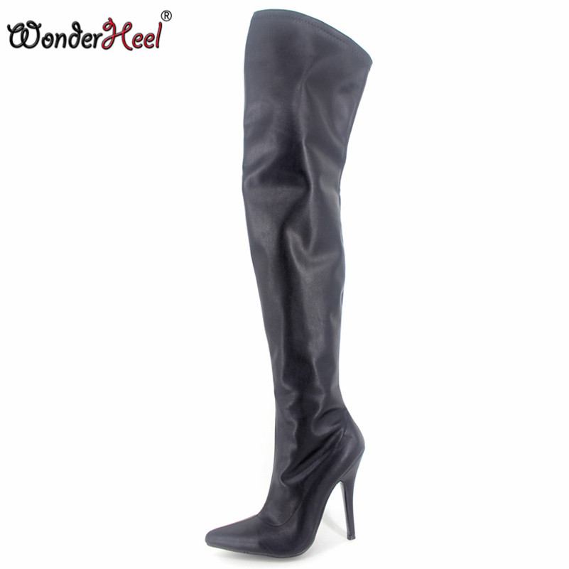 Wonderheel New 12cm heels black matt over the knee women sexy stilleto heel crotch boots fashion