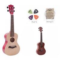 23 Acoustic Ukulele Soprano Ukelele Colorful Ukulele Kit Basswood Hawaii 4 String Guitar Ukelele + String + Pick for Beginners
