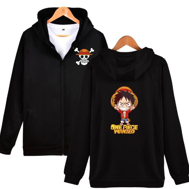 Anime One Piece mens Jackets and Coats japanese streetwear monkey d luffy Hip Hop With Zipper Hooded Sweatshirt Funny clothes