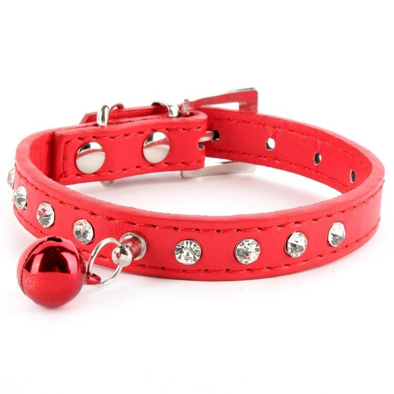 Collar de perro de cuero PU banda de Diamantes de Imitación Diamante Bling Cristal Mascota Gato Cachorro XXS-L