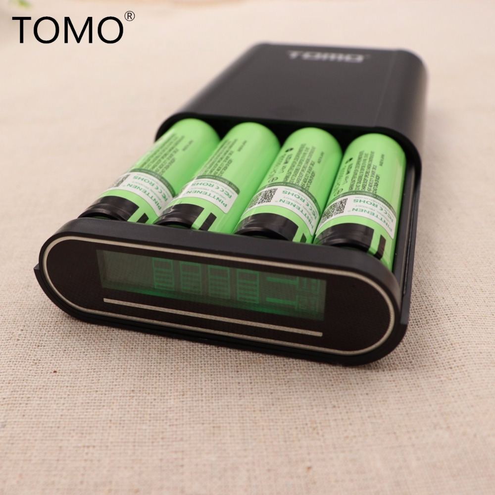 TOMO M4 Smart Power Charger 5V 2A Power Bank 18650 Li-ion Battery Portable DIY Powerbank Box Charger+4PCS NCR18650B Battery