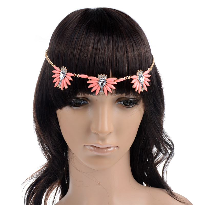 Simple Elastic Pink Rhinestone Flower Head Chain Hairband ...