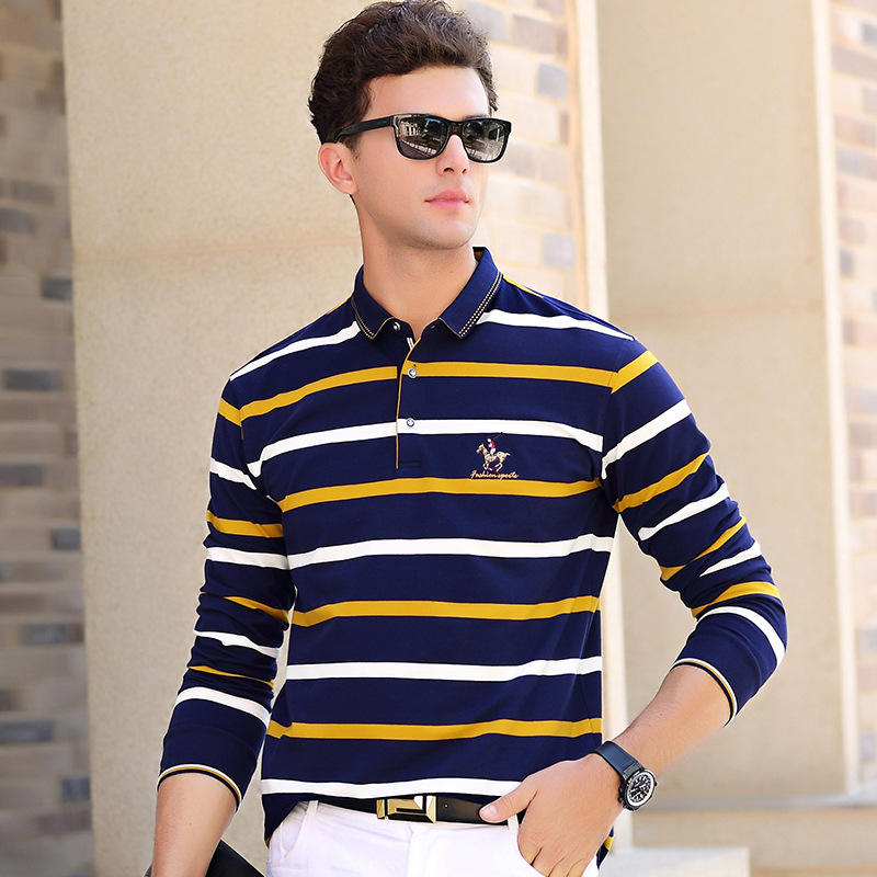 New arrival spring autumn cotton   polo   shirt men business casual striped long sleeve male breathable camisa plus size XXXL 8805