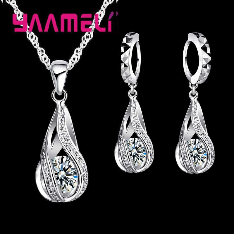 Air Panas DROP CZ 925 Sterling Silver Perhiasan Set untuk Wanita Liontin Kalung Anting Anting-Anting Pesta Pernikahan Ceremoey Anel