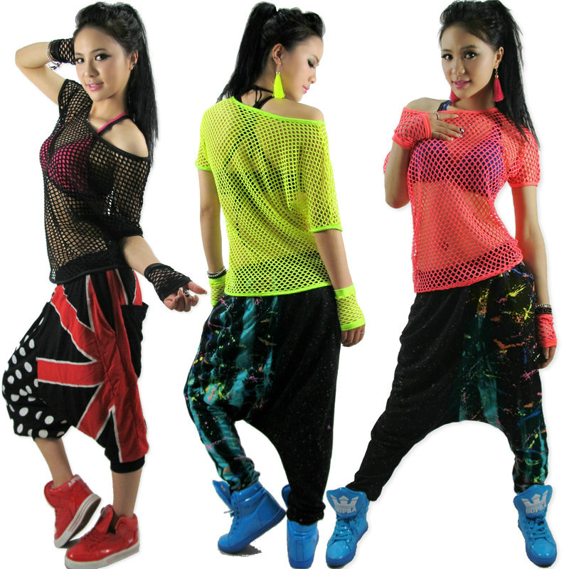 Kids Adult Hollow out hip hop top dance see-through Jazz costume performance wear stage clothing neon Mesh Sexy cutout t-shirt